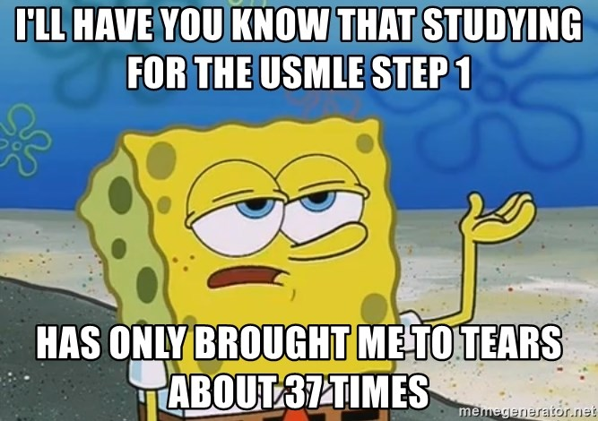 I'll have you know Spongebob - I'll have you know that studying for the USMLE Step 1 Has only brought me to tears about 37 times