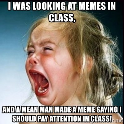 screaming girl - I was looking at memes in class, and a mean man made a meme saying I should pay attention in class!