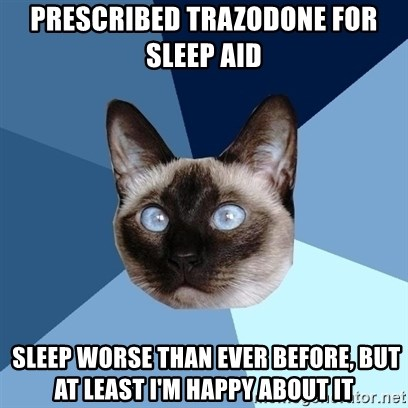 Prescribed trazodone for sleep aid sleep worse than ever