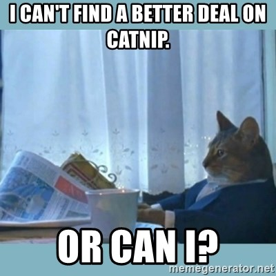 rich cat  - I can't find a better deal on catnip. Or can I?
