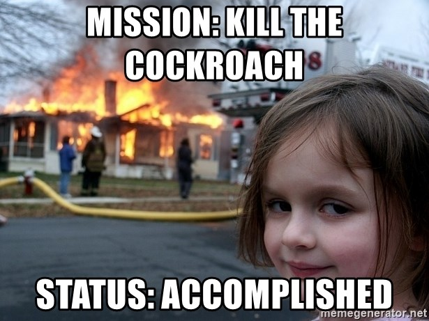 Disaster Girl - Mission: kill the cockroach   Status: accomplished