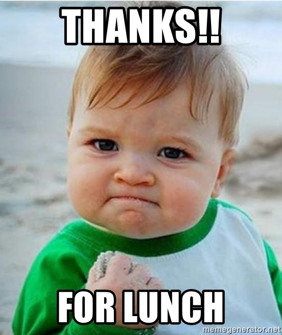 victory kid - Thanks!! For Lunch