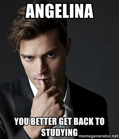 Christian Grey Jamie Dornan - ANGELINA you better get back to studying
