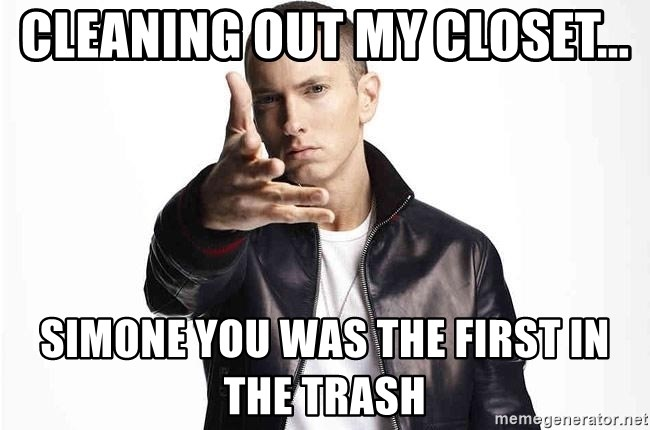 eminem exclusive - cleaning out my closet... simone you was the first in the trash