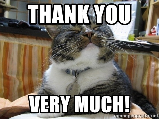 smug cat - Thank you    very much!