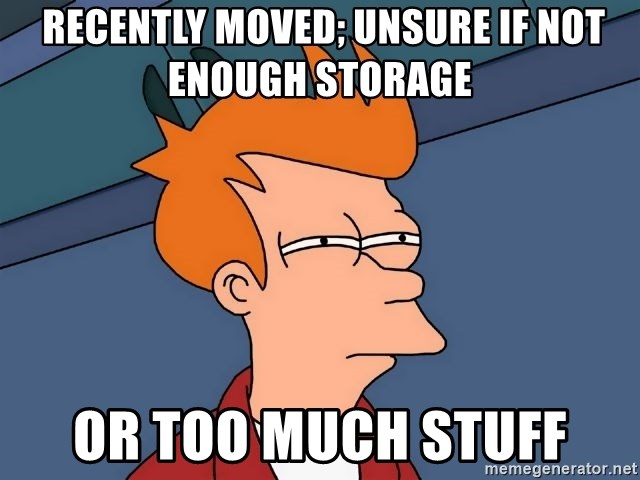 Futurama Fry   Recently Moved; Unsure If Not Enough Storage Or Too Much  Stuff