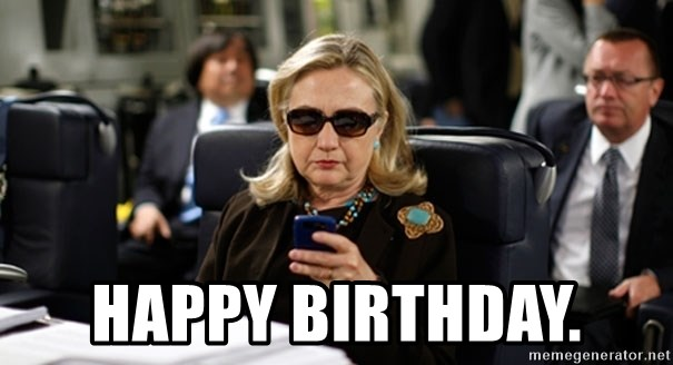 Hillary Text -  Happy Birthday.
