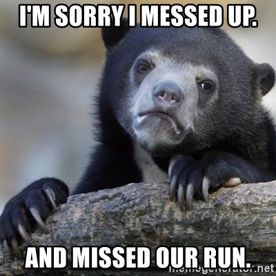 Confession Bear - I'm sorry I messed up. And missed our run.