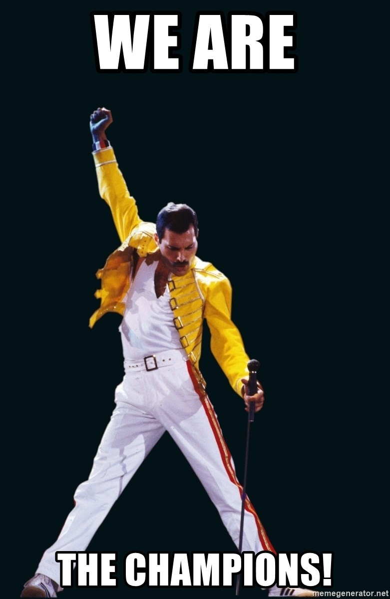 Freddie Mercury Victory Pose - we are the champions!