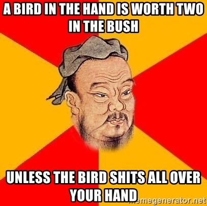 Chinese Proverb - a bird in the hand is worth two in the bush unless the bird shits all over your hand