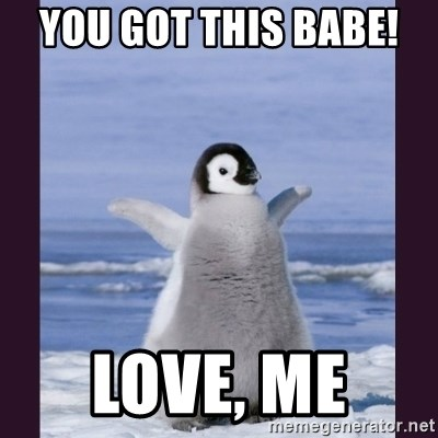 Cute Penguin - You got this babe!  Love, me