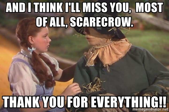 And I Think Ill Miss You Most Of All Scarecrow Thank You For