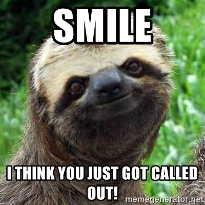 SMILE I think you just got called out! - Sarcastic Sloth | Meme