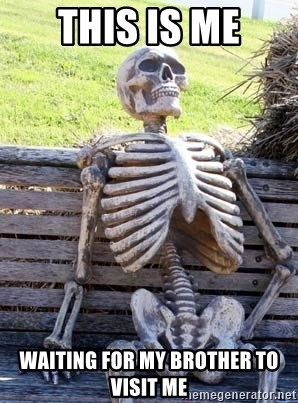 Waiting Skeleton - THIS IS ME WAITING FOR MY BROTHER TO VISIT ME