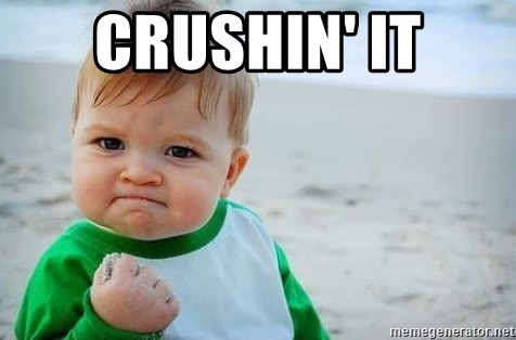 "Image result for ""crushin it"" baby fist pump meme"