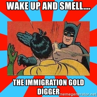 Batman Bitchslap - WAKE UP AND SMELL.... THE IMMIGRATION GOLD DIGGER