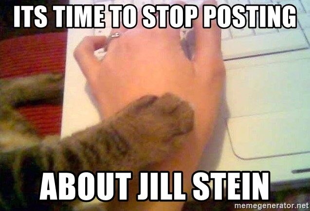 It's time to stop cat - Its time to stop posting about jill stein