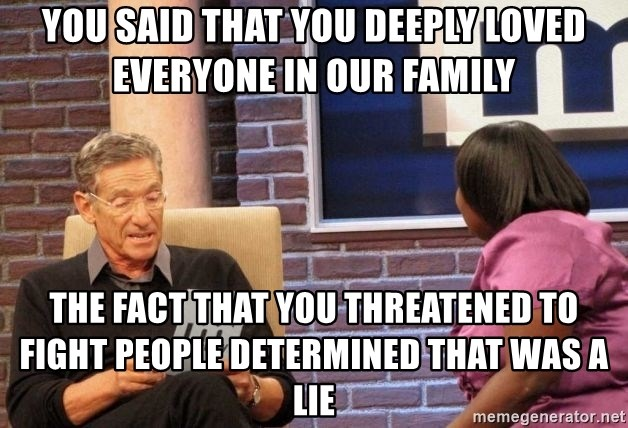 Maury Lie Detector - You said that you deeply loved everyone in our family The fact that you threatened to fight people determined that was a lie