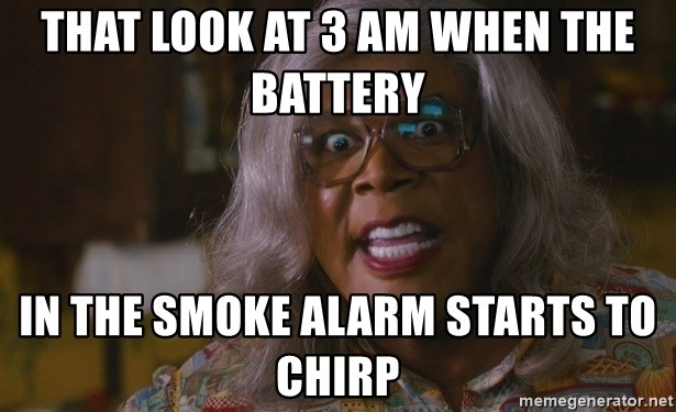 That Look At 3 Am When The Battery In The Smoke Alarm Starts To Chirp Madea Mad As Hell Meme Generator