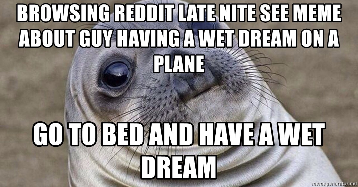 browsing reddit late nite see meme about guy having a wet dream on a