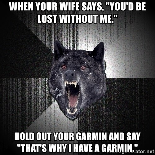 When Your Wife Says You D Be Lost Without Me Hold Out Your Garmin And Say That S Why I Have A Garmin Insanity Wolf Meme Generator