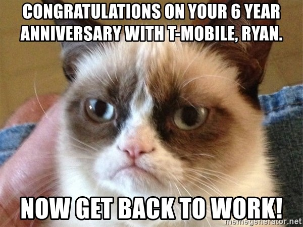 Angry Cat Meme - Congratulations on your 6 year anniversary with T-Mobile, Ryan. NOW GET BACK TO WORK!
