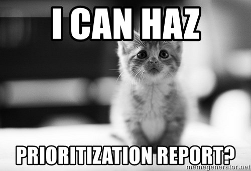I can haz results nao? - I CAN HAZ PRIORITIZATION REPORT?