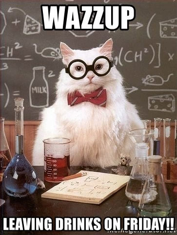 Chemistry Cat - WAZZUP Leaving Drinks on Friday!!