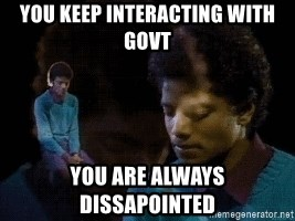 Sad Michael Jackson Chair - you keep interacting with govt you are always dissapointed
