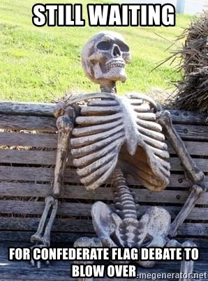 Waiting Skeleton - still waiting for confederate flag debate to blow over