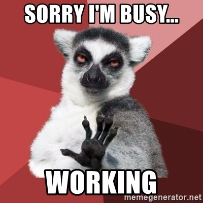 Chill Out Lemur - Sorry I'm busy... WORKING