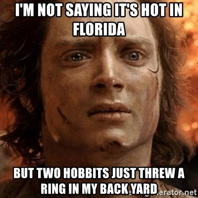 frodo it's over - I'm not saying it's hot in florida but two hobbits just threw a ring in my back yard