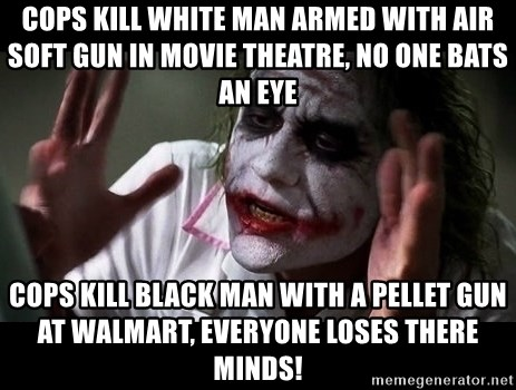 cops kill white man armed with air soft gun in movie theatre, no one
