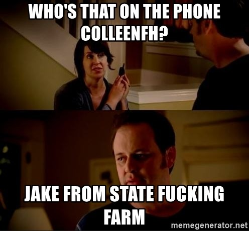 jake from state farm meme - Who's that on the phone ColleenFH? Jake from State Fucking Farm