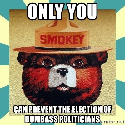 Smokey the Bear - ONLY YOU Can prevent the election of dumbass politicians