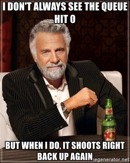 Most Interesting Man - I don't always see the queue hit 0 But when I do, it shoots right back up again