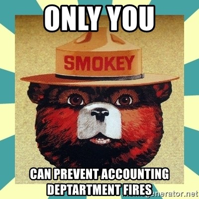 Smokey the Bear - ONLY YOU CAN PREVENT ACCOUNTING DEPTARTMENT FIRES