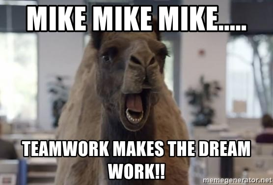 Geico Camel Hump Day - Mike Mike Mike..... Teamwork Makes the Dream Work!!