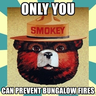 Smokey the Bear - ONLY YOU CAN PREVENT BUNGALOW FIRES
