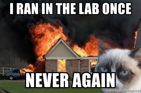 grumpy cat 8 - I ran in the lab once never again