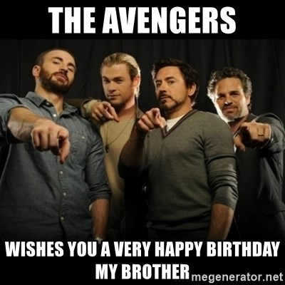 avengers pointing - the avengers wishes you A very happy birthday my brother