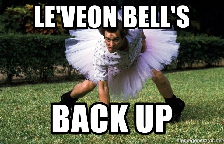 ace ventura football player - LE'VEON BELL'S BACK UP