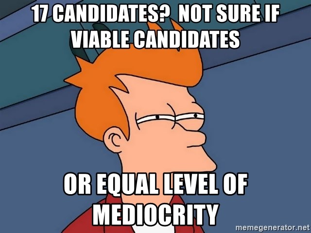 Futurama Fry - 17 candidates?  not sure if viable candidates or equal level of mediocrity