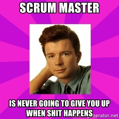 RIck Astley - Scrum master is never going to give you up when shit happens