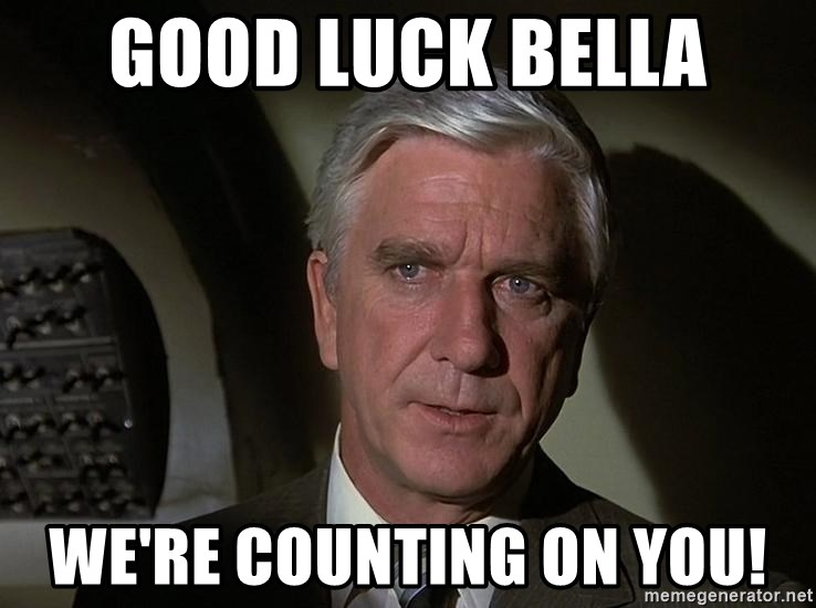 Leslie Nielsen Shirley - good luck bella we're counting on you!