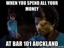 Sad Michael Jackson Chair - when you spend all your money at bar 101 auckland