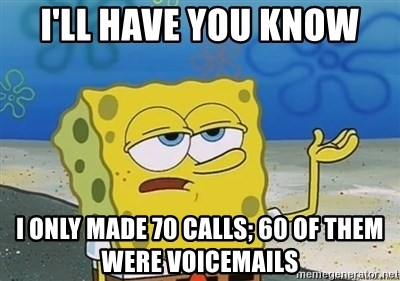 I'll have you know - I'll have you know I only made 70 calls; 60 of them were voicemails