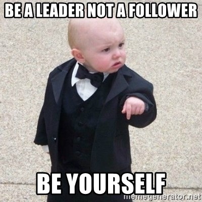 Image result for be a leader not a follower meme
