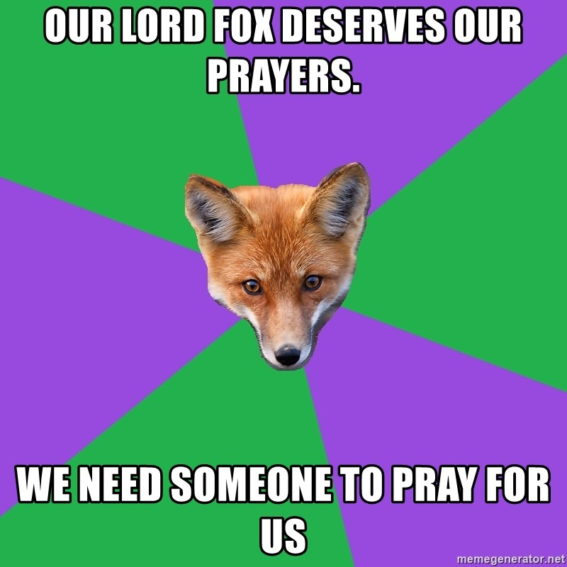 Our Lord Fox Deserves our Prayers  We Need Someone To Pray