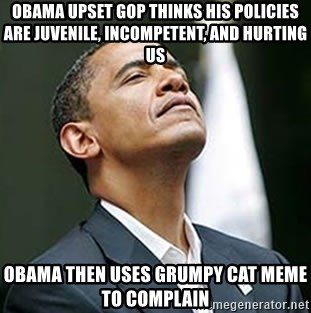 Pretentious Obama - Obama upset GOP thinks his policies are juvenile, incompetent, and hurting US Obama then uses Grumpy Cat MEME to complain